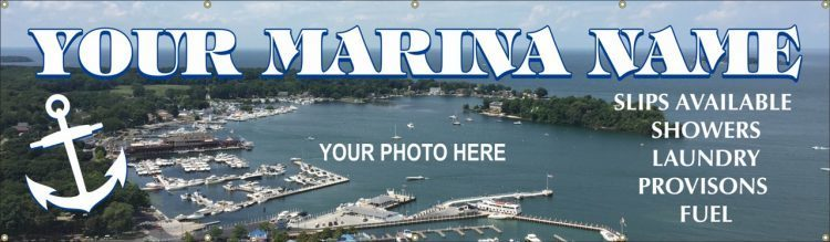 Marina Vinyl Banner with Nautical Theme