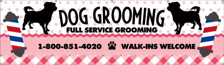 Dog Grooming Vinyl Banner with Animal and Barber Print