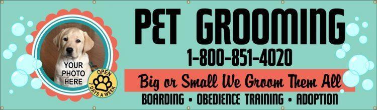 Dog Grooming Vinyl Banner with Pet Design