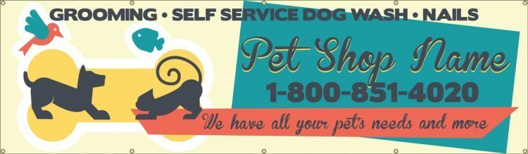 Dog Grooming Vinyl Banner with Pet Store Design