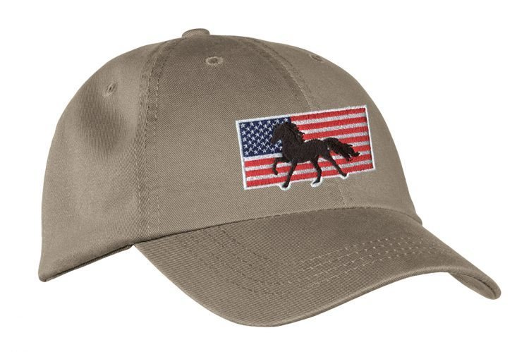 Khaki Hat with Embroidered Horse and American Flag