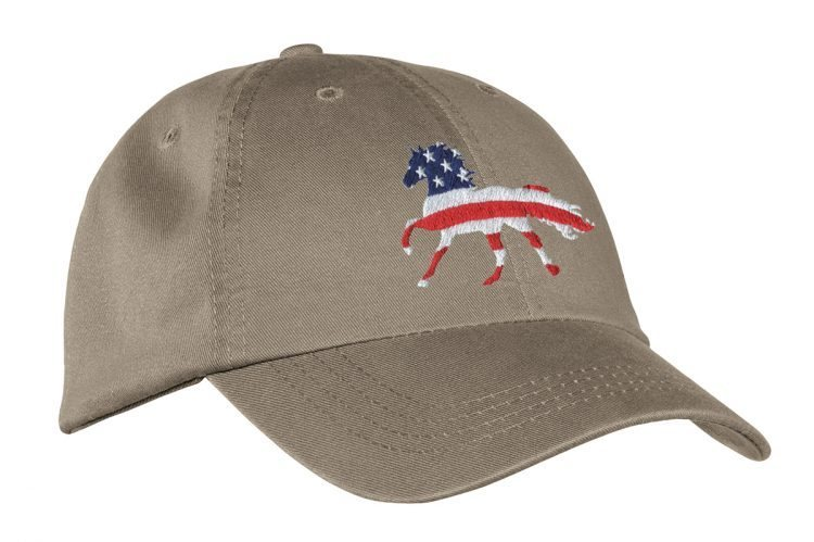 Khaki Hat with Embroidered American Flag Horse