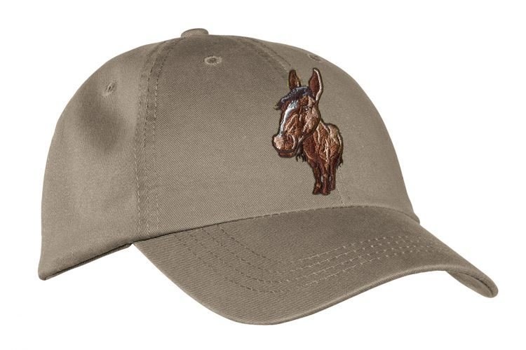 Khaki Hat with Embroidered Horse